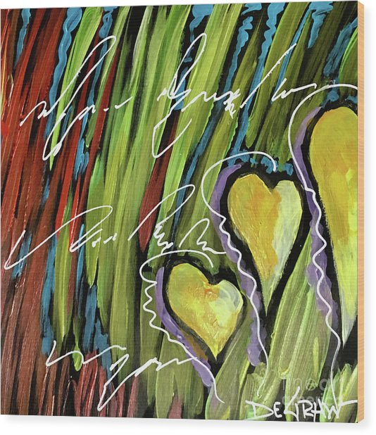 Hearts In The Grass Wood Print