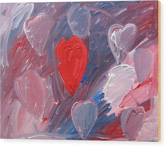 Hearts Wood Print by Kiely Holden