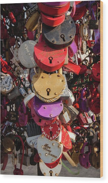 Hearts Locked In Love Wood Print
