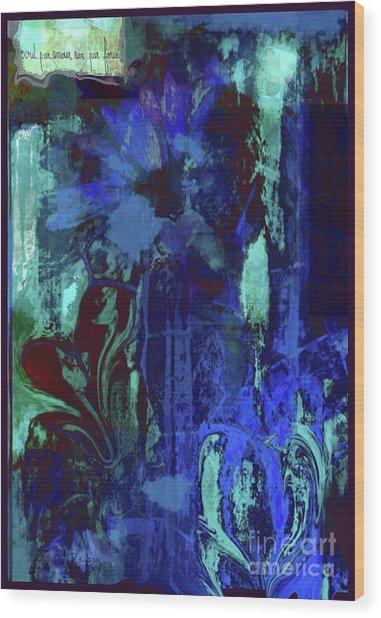Red Heart- Blue Flowers Wood Print