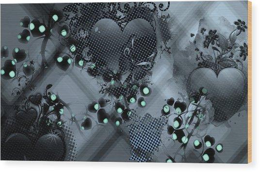 Hearts N' Vines Green Wood Print