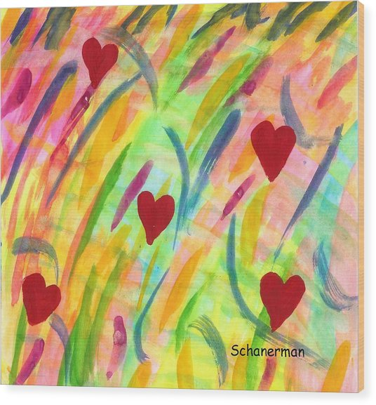 heARTs of Spring Wood Print