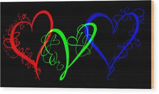Hearts On Black Wood Print
