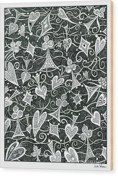 Hearts, Spades, Diamonds And Clubs In Black Wood Print