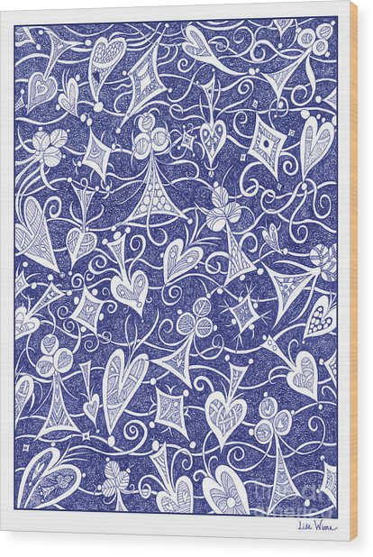 Hearts, Spades, Diamonds And Clubs In Blue Wood Print