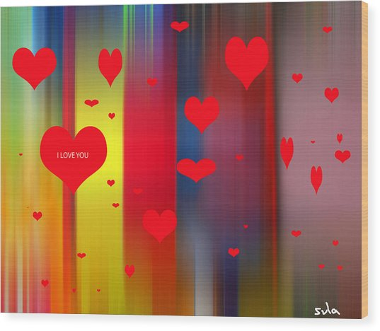 Hearts Wood Print by Sula Chance