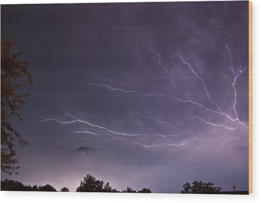 Heat Lightning Wood Print