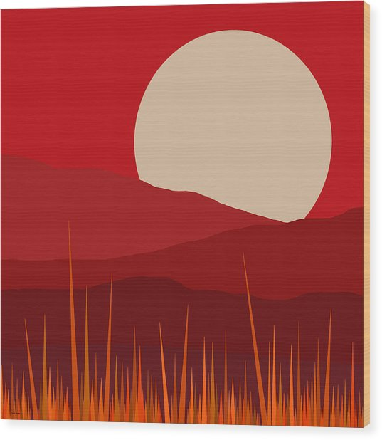 Heat - Red Sky  Wood Print