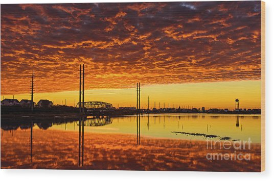 Swing Bridge Heat Wood Print