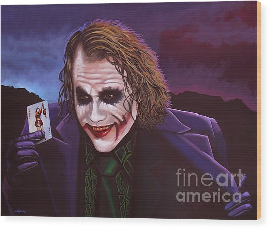 Heath Ledger As The Joker Painting Wood Print