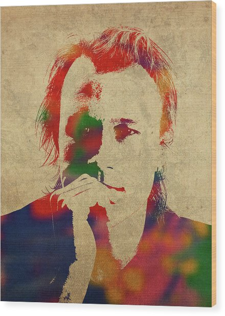 Heath Ledger Watercolor Portrait Wood Print