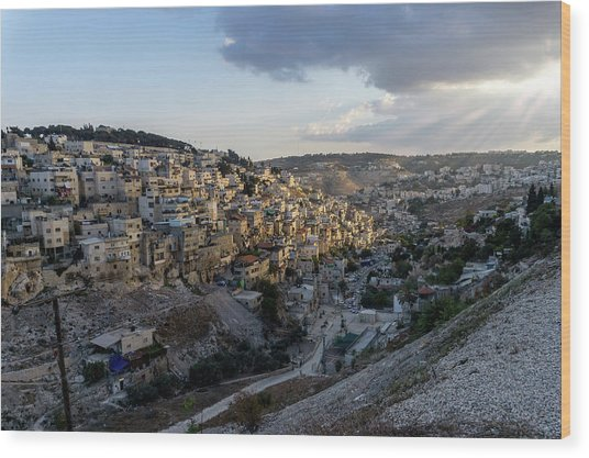 Heaven Shines On The City Of David Wood Print