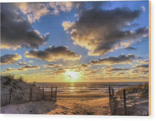 Heavenly Skies At The Jersey Shore Wood Print