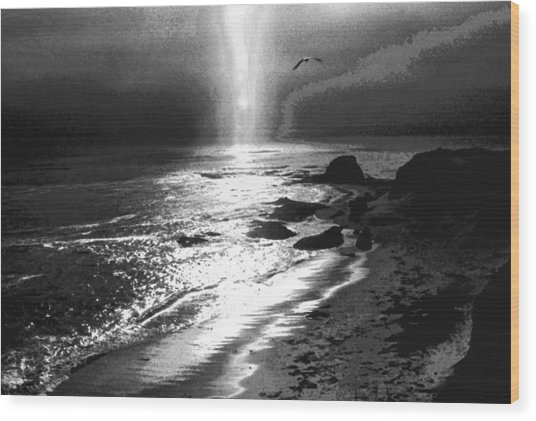 Heavens Light Black And White Wood Print