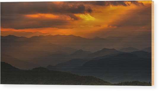 Heaven's Light On The Blue Ridge Parkway Wood Print