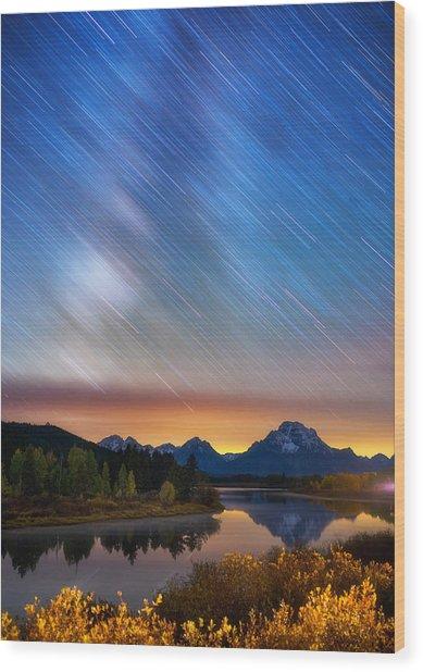 Heavens Rains Wood Print