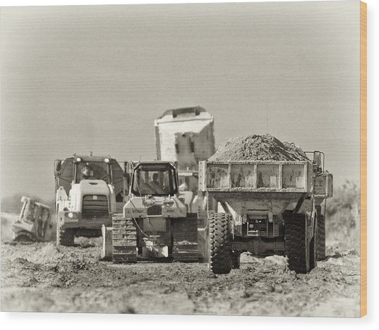 Heavy Equipment Meeting Wood Print