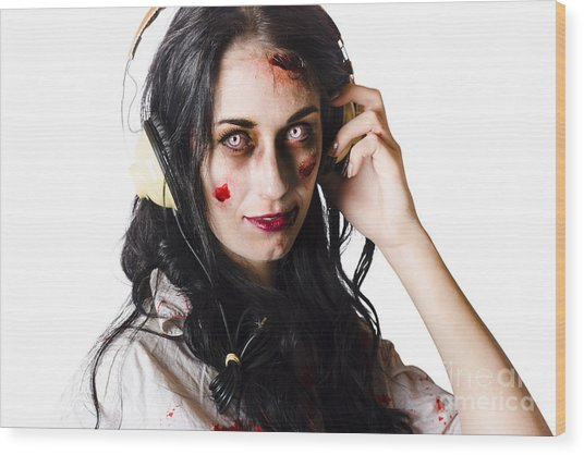 Heavy Metal Zombie Woman Wearing Headphones Wood Print