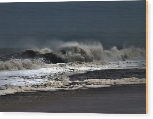 Stormy Surf Wood Print