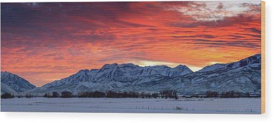 Heber Valley Panoramic Winter Sunset. Wood Print