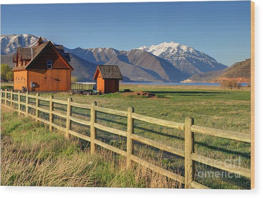 Heber Valley Ranch House - Wasatch Mountains Wood Print