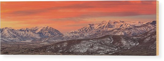 Heber Valley Sunrise Panorama. Wood Print