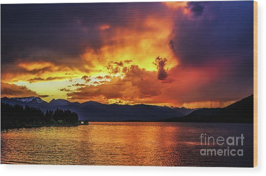 Hebgen Lake Sunset Wood Print