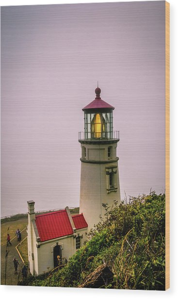 Heceta Head Lighthouse In The Fog Wood Print