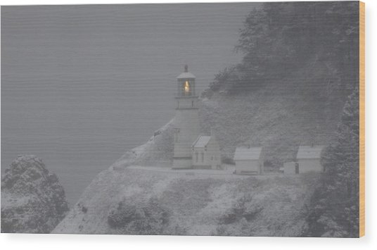 Heceta Lighthouse Snowstorm Wood Print