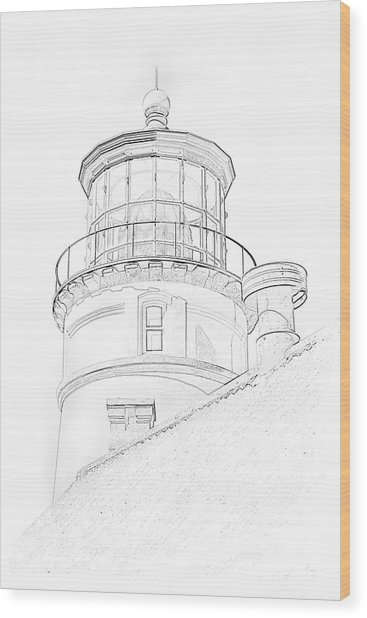 Hecitia Head Lighthouse Sketch Wood Print