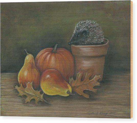 Hedgehog In Flower Pot Wood Print