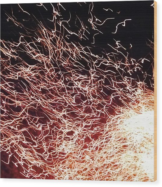 Hedgewood Fire Sparks Wood Print