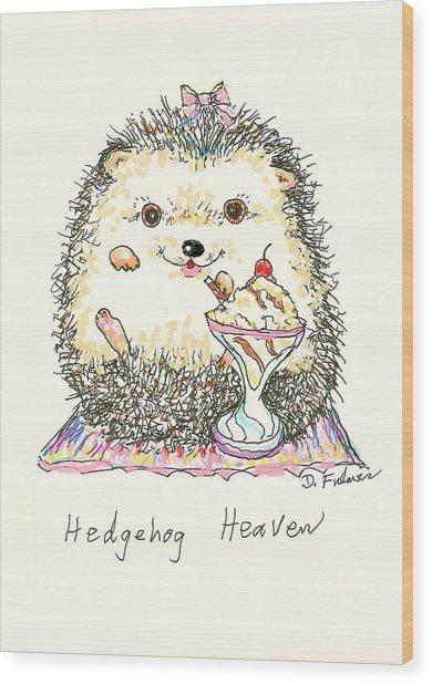 Hedgehog Heaven Wood Print