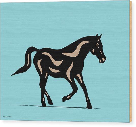 Heinrich - Pop Art Horse - Black, Hazelnut, Island Paradise Blue Wood Print