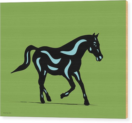 Heinrich - Pop Art Horse - Black, Island Paradise Blue, Greenery Wood Print