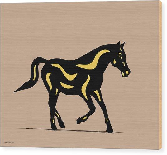Wood Print featuring the digital art Heinrich - Pop Art Horse - Black, Primrose Yellow, Hazelnut by Manuel Sueess