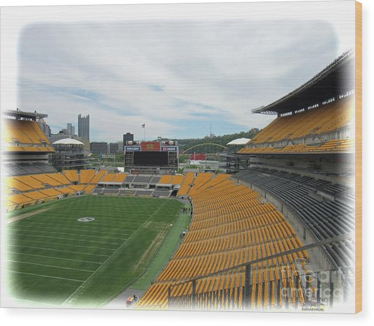 Heinz Stadium With Pittsburgh Skyline Wood Print