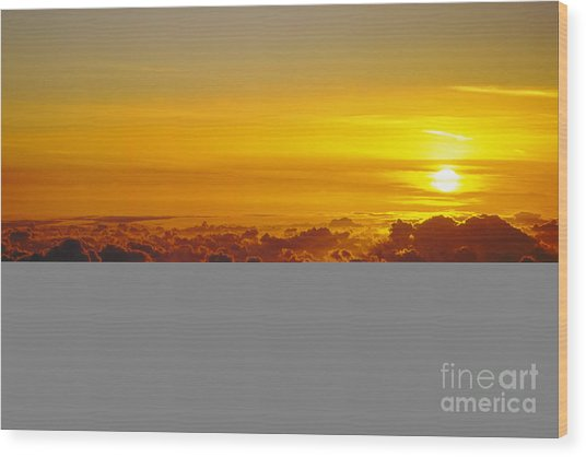 Heleakala Sunrise Wood Print by Stan and Anne Foster