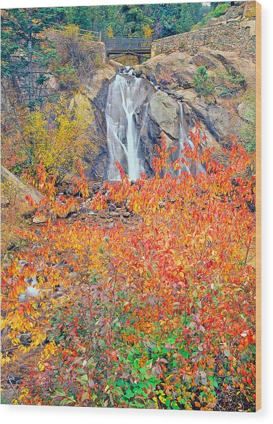 Helen Hunt Falls Autumn V Bridge Wood Print