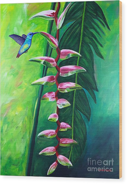 Heliconia Flower And Friend Wood Print
