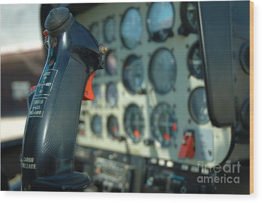 Helicopter Cockpit Wood Print