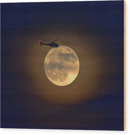 Helicopter Moon And Clouds I Wood Print