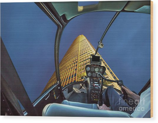 Helicopter On Skyscaper Facade Wood Print