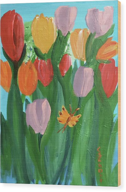 Hello Spring Tulips Wood Print
