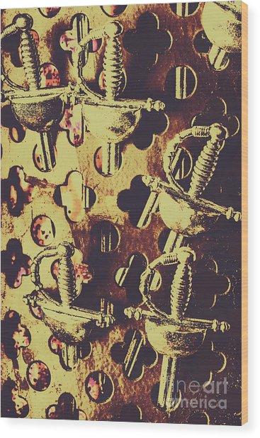 Helm Of Antique War Wood Print