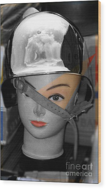 Helmet Wood Print by Sascha Meyer
