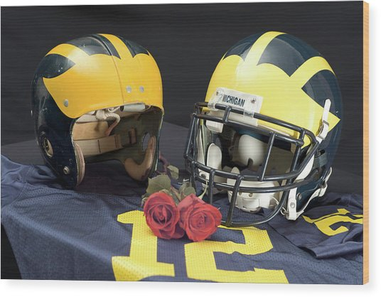Helmets Of Different Eras With Jersey And Roses Wood Print