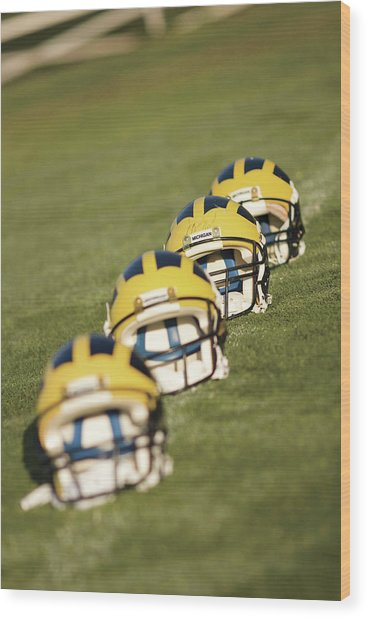 Helmets On Yard Line Wood Print