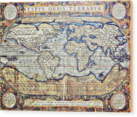 Hemisphere World  Wood Print
