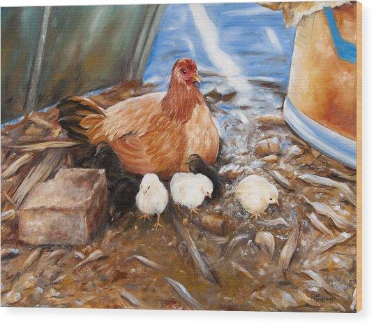 Hen And Biddies Wood Print